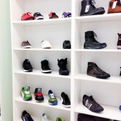 Wall of men's shoes at Brands Temporary Store in London. Photo by alphacityguides.