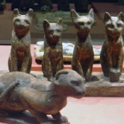 Egyptian cat exhibit at the louvre.