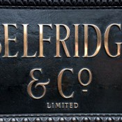 Selfridge & Co. sign in London. Photo by alphacityguides.