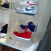 Sneaker display at MWShift in Paris. Photo by alphacityguides.