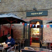 Store front at Square Pie in Spitalfields market in London. Photo by alphacityguides.