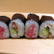 Sushi rolls (cucumber and salmon and tuna) at Sushi Dai in Tokyo. Photo by alphacityguides.