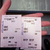 Bundled ticket for Newark Airtrain and NJ Rail from Newark Airport. Photo by alphacityguides.