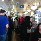 Line up inside Murray's Bagel in New York. Photo by alphacityguides.