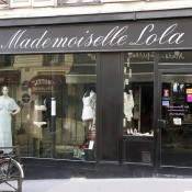Store front at Mademoiselle Lola in Paris. Photo by alphacityguides.