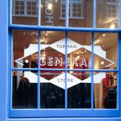 Window at Topman General Store in London. Photo by alphacityguides.