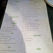 Menu at Pizza East in London. Photo by alphacityguides.