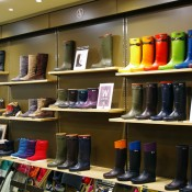 Boot display inside Aigle in Tokyo. Photo by alphacityguides.