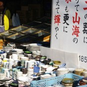 Dishes at Tsukiji Outer Market in Tokyo. Photo by alphacityguides.