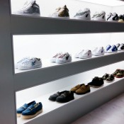 Sneakers display at A Bathing Ape in Tokyo. Photo by alphacityguides.