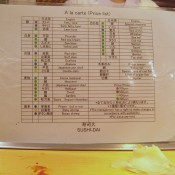 À la carte menu at Sushi Dai in Tokyo. Photo by alphacityguides.