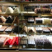 Chocolate counter display at Harrods in London. Photo by alphacityguides.
