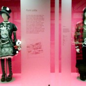 Punk Lolita costumes at a Japanese streetwear fashion exhibit at V&A museum in London.