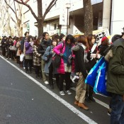 Line up to get into Laforet on New Years Day in Harajuku.
