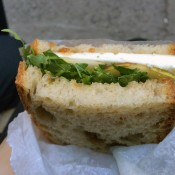 Manouri cheese sandwich at Smile To Go in New York. Photo by alphacityguides.