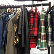 Vintage tartans and plaids at Old Spitalfields Market in London. Photo by alphacityguides.