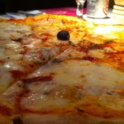 Four cheese pizza at PizzaExpress in Hong Kong. Photo by alphacityguides.