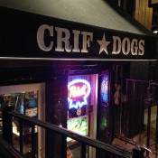 Outside Crif Dogs New York. Photo by alphacityguides.