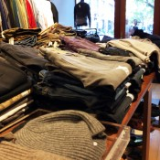 Sweater and pant display at INA NoHo in New York. Photo by alphacityguides.