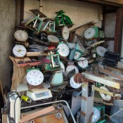 Vintage scales at Tsukiji Outer Market in Tokyo. Photo by alphacityguides.