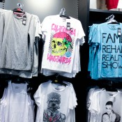 T-shirts at River Island on Oxford Street in London. Photo by alphacityguides.