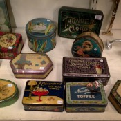 Vintage box display at Chole Alberry in the Portobello Market in London. Photo by alphacityguides.