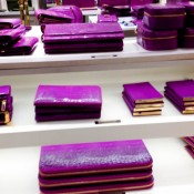 Wallet & leather accessories display at Smythson in London. Photo by alphacityguides.