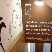 Sign at Euporium Bakery in Covent Garden, London. Photo by alphacityguides.