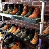 Women's boot and shoe display at Shoegasm in New York. Photo by alphacityguides.