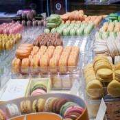 Pierre Hermé macaron display in Paris. Photo by alphacityguides.