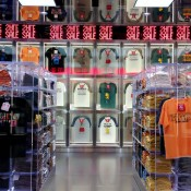 T-shirt wall display inside Uniqlo in Tokyo. Photo by alphacityguides.