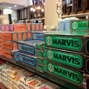 Product display at C.O Bigelow in New York. Photo by alphacityguides.