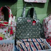 Colorful printed bags at Cath Kidston in London. Photo by alphacityguides.