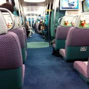Inside the Airport Express in Hong Kong. Photo by alphacityguides.