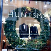 Window display at Huntsman on Savile Row in London. Photo by alphacityguides.