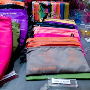 Colorful organization pouches at Pylones in London. Photo by alphacityguides.