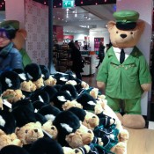 Famous Harrods bear and toy department at Harrods in London. Photo by alphacityguides.