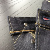Careful control stitching on Japanese selvage denim jeans.