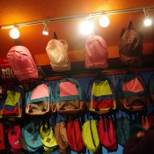 Backpack wall display inside Thank You Mart in Tokyo. Photo by alphacityguides.