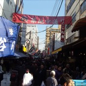 Busy stalls at Tsukiji Market in Tokyo. Photo by alphacityguides.
