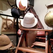 Vintage safari hats, leather suitcases at Henry Gregory in London. Photo by alphacityguides.