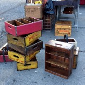 Vintage crates at Hell's Kitchen Market in New York. Photo by alphacityguides.