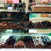 Chocolate and truffle display at Fortnum and Mason in London. Photo by alphacityguides.