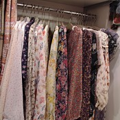 Vintage floral dresses at Lost and Found in Tokyo. Photo by alphacityguides.