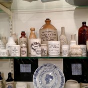 Vintage ceramic kitchen bottles in London. Photo by alphacityguides.