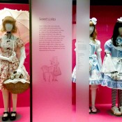 Sweet Lolita costumes from a Japanese street fashion exhibit at the V&A museum in London. Photo by alphacityguides.