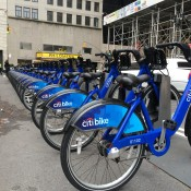 Citibike rack in New York. Photo by alphacityguides.
