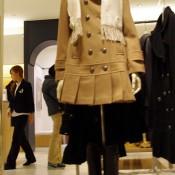 Pleated coat at Isetan.