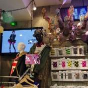 Women's tights display at Spinns Harajuku in Tokyo.