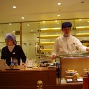 Baumkuchen spits at Holländische Kakao-Stube in Isetan in Tokyo. Photo by alphacityguides.